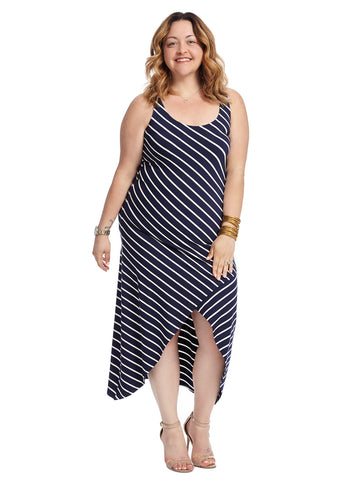 Maritime Blue And White Stripe Maxi Dress