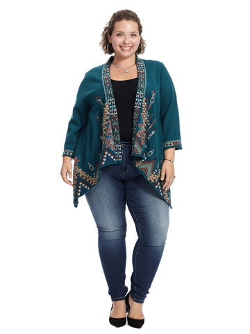 Embroidered Draped Knit Cardigan
