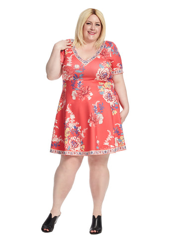 Short Sleeve V-Neck Fit And Flare Dress In Red Floral Print