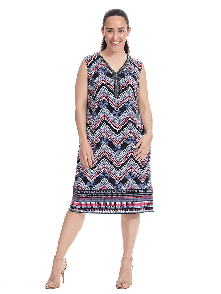 Beaded Chevron Print Dress
