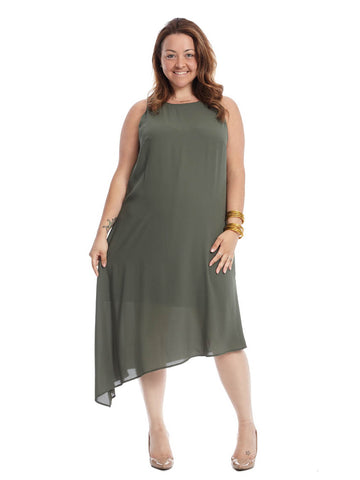 Olive Asymmetrical Hem Dress