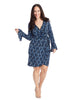 Printed Bell Sleeve Wrap Dress