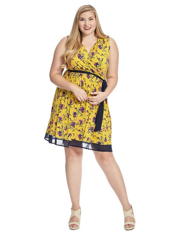 Sleeveless Floral Surplice Tie Waist Dress