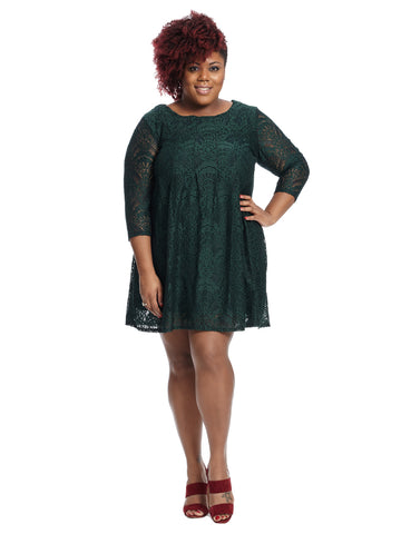 Pleated Front Lace Dress In Green