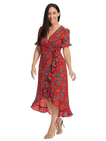 Ruffle Sleeve Red True Floral Wrap Dress