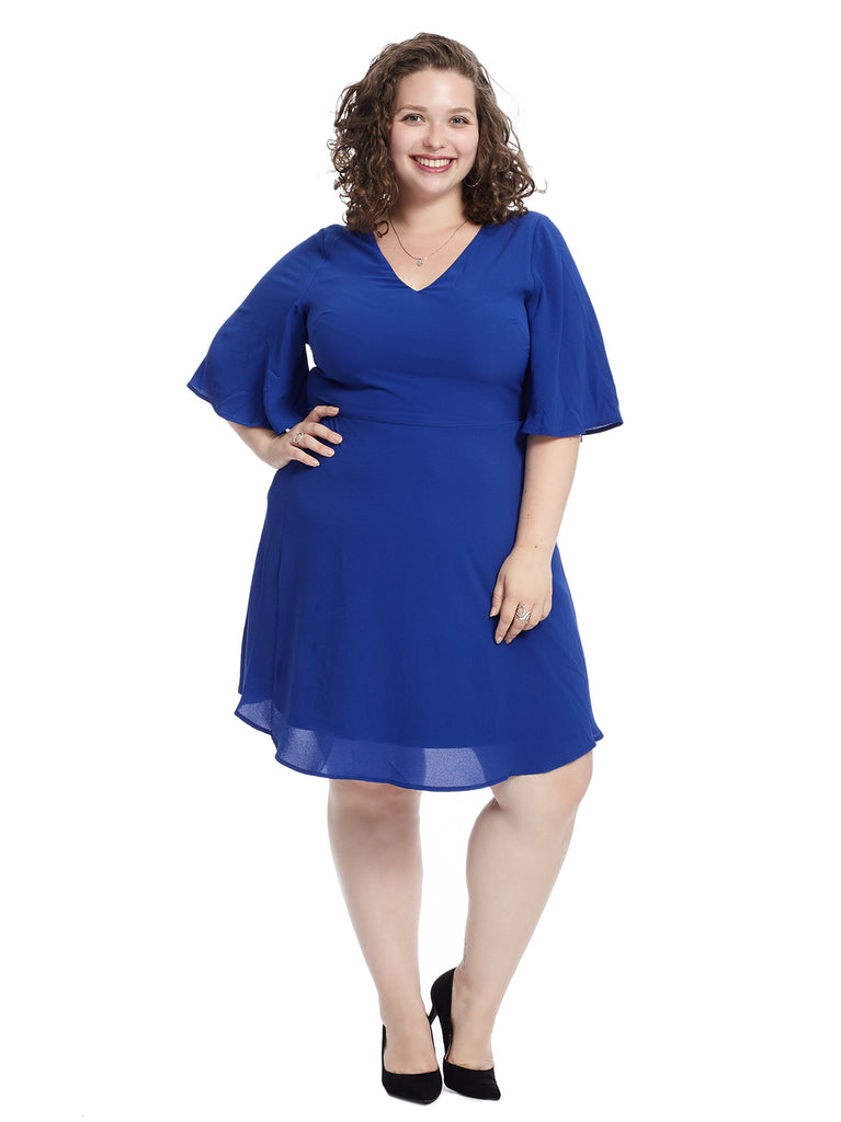 Flutter Sleeve Blue Fit And Flare Dress
