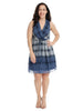 Ombre Plaid Print Dress