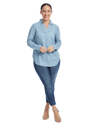 Collared Blue Tencel Tunic