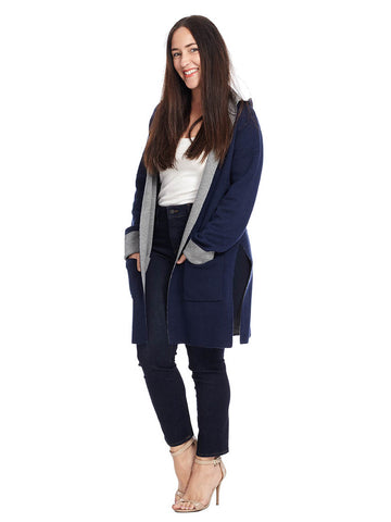 Navy Hooded Cardigan
