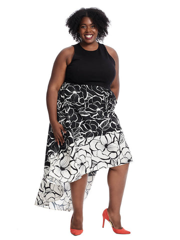 Hi Lo 2Fer Maxi Dress In Black/White Peony Print