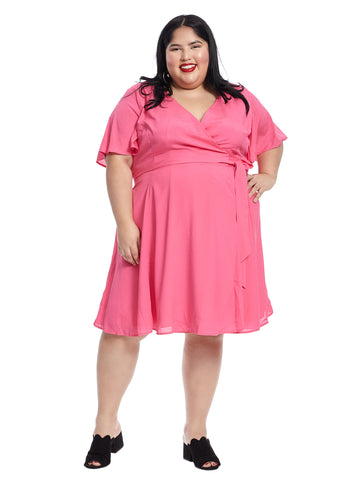 Flutter Sleeve Fuchsia True Wrap Dress