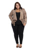 Drape Front Faux Leather Jacket in Taupe