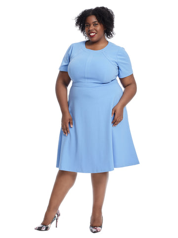 Short Sleeve Blue Fit And Flare Dress