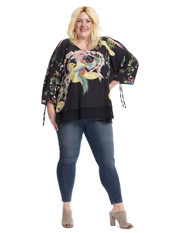 Cold Shoulder Top In Peacock Soft Garden