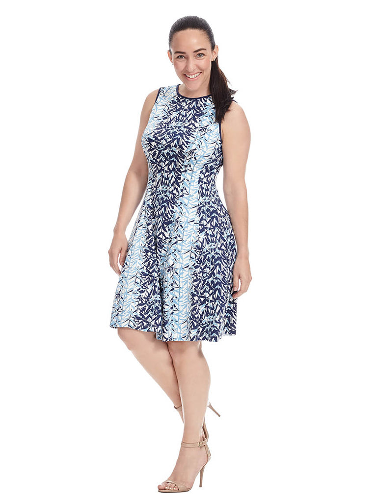Blue Leaf Print Dress