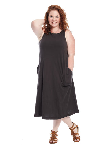 Black Lillian Tieback Tank Dress