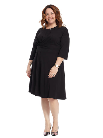 Asymmetrical Pleated Dress In Black