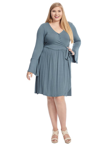 Dusty Teal Forest Faux Wrap Dress