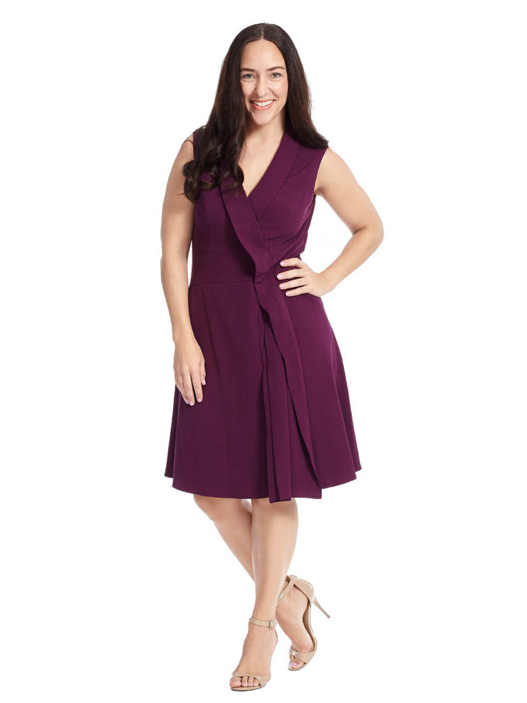 V-Neck Fit & Flare Dress With Foldover Detail