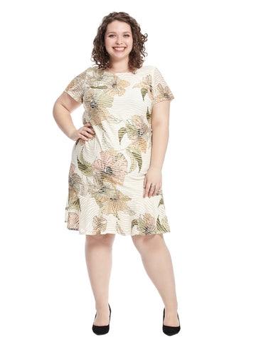 Ivory and Olive Floral Print Flounce Shift Dress