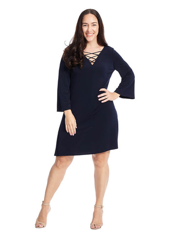 Criss Cross A-Line Dress In Navy
