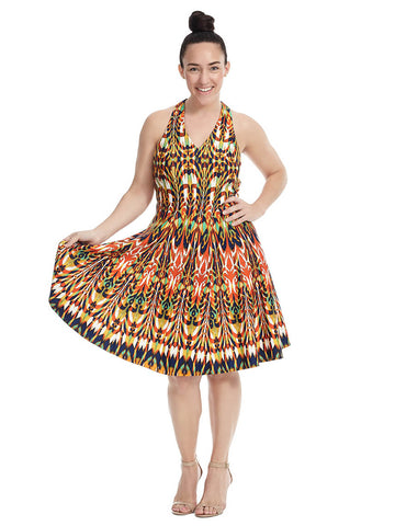 Halter Dress In Psychedelic Print