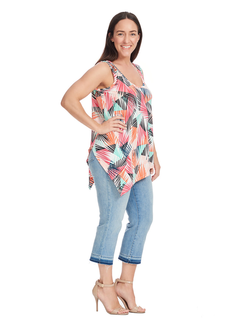 Palm Print Asymmetrical Hem Tank Top