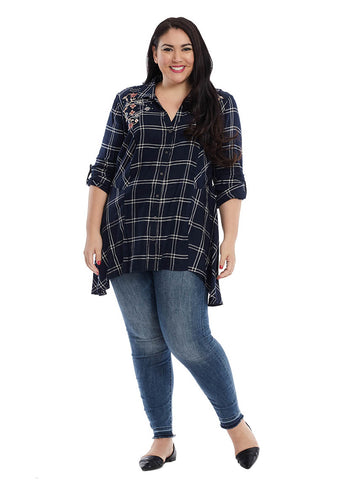 Ries Embroidered Plaid Tunic Top