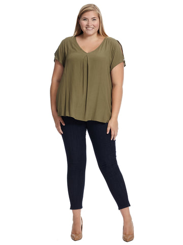 Nova Cold Shoulder Blouse In Army