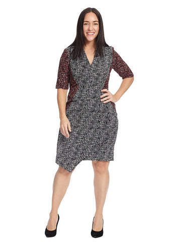 Etch Print V-Neck Dress