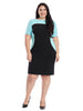 Short Sleeve Crepe Colorblock Sheath Dress