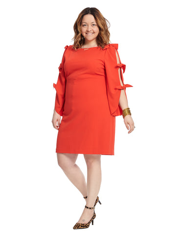 Open Tie Sleeve Red Ponte Dress