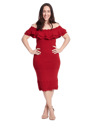 Off The Shoulder Ruffle Sheath Dress In Red