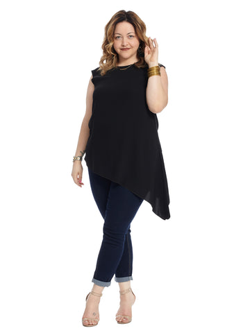 Asymmetrical Sleeveless Crepe Top