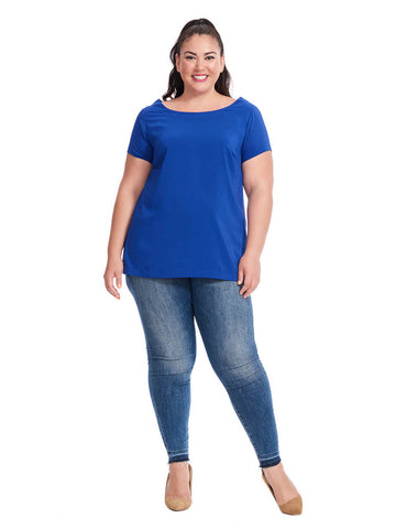 Paige Top In Blue Frond