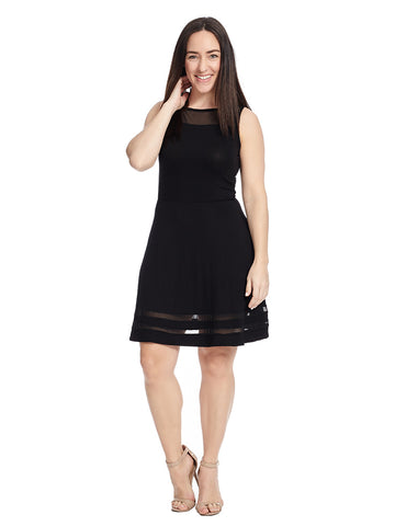 Sleeveless Fit And Flare Dress With Mesh Detail In Black