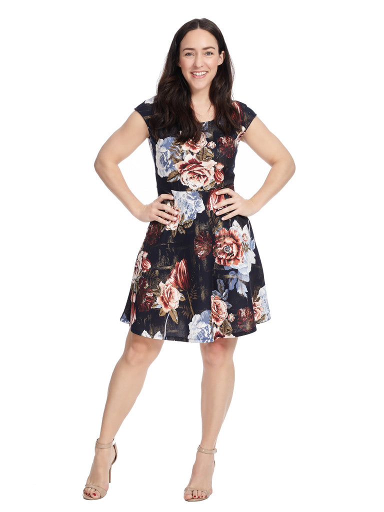 Cap Sleeve Fit And Flare Dress In Navy Floral Print