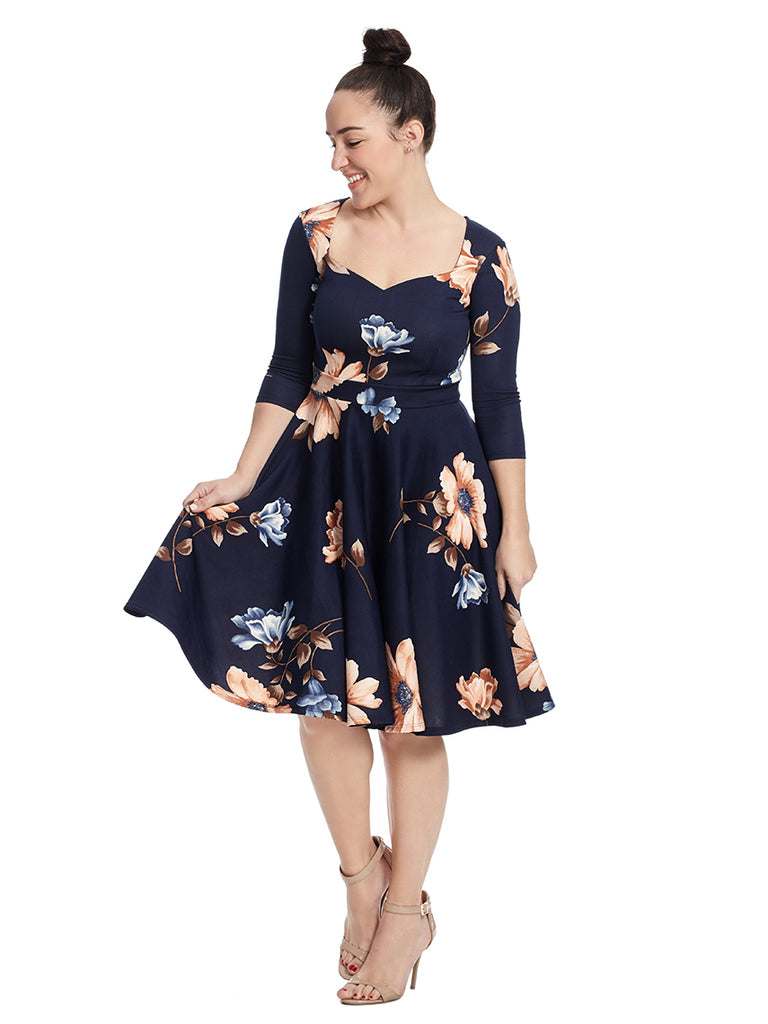 Sweetheart Neckline Dress In Navy Floral Print