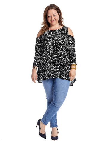 Cold Shoulder Top In Black And White