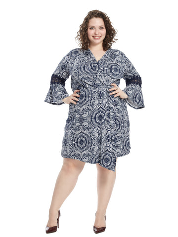 Bell Crochet Trim Sleeve Dress In Navy Faberge Print