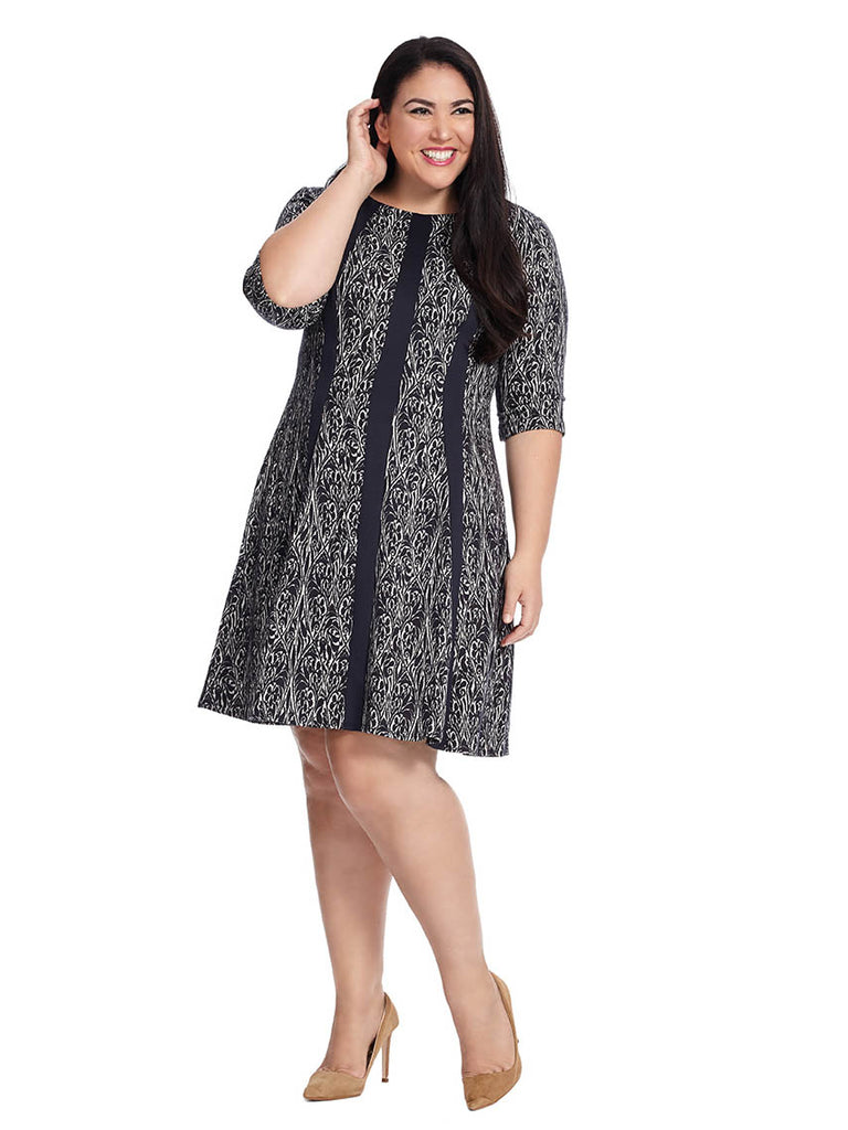 Printed Fit & Flare Dress In Navy & Black
