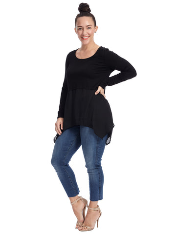 Woven Trim Sharkbite Scoop Neck Black Tunic