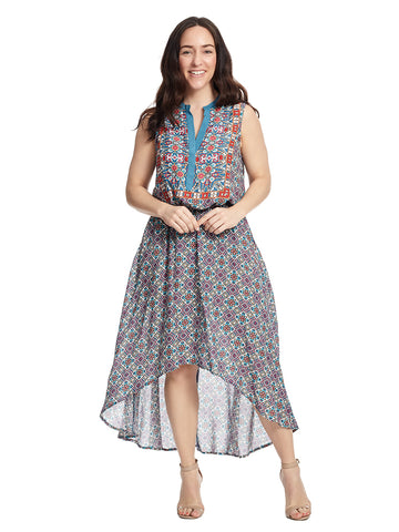 Sleeveless Multi Print Hi-Lo Dress