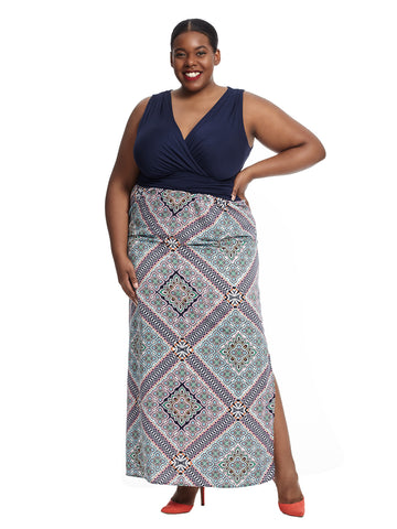 Sleeveless Geometric Print Maxi Dress