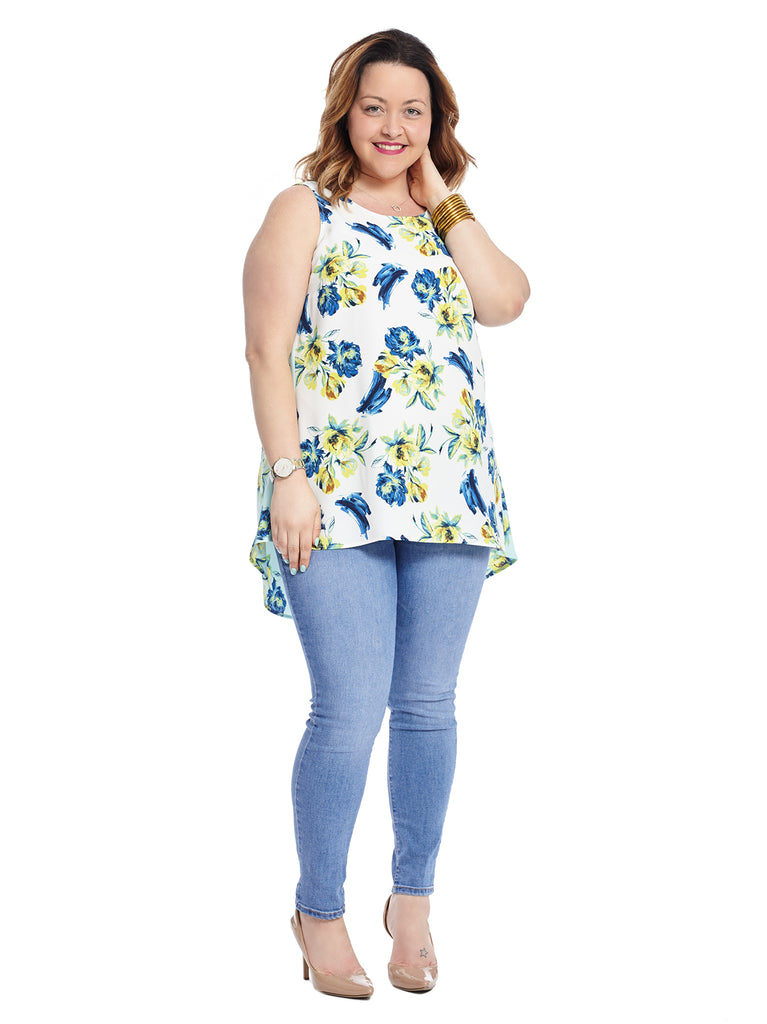Sleeveless Top With Dual Print