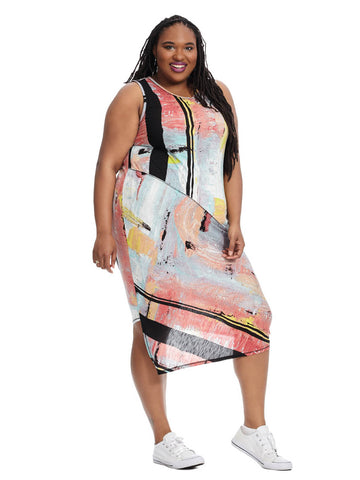 Printed Draped Back Dress