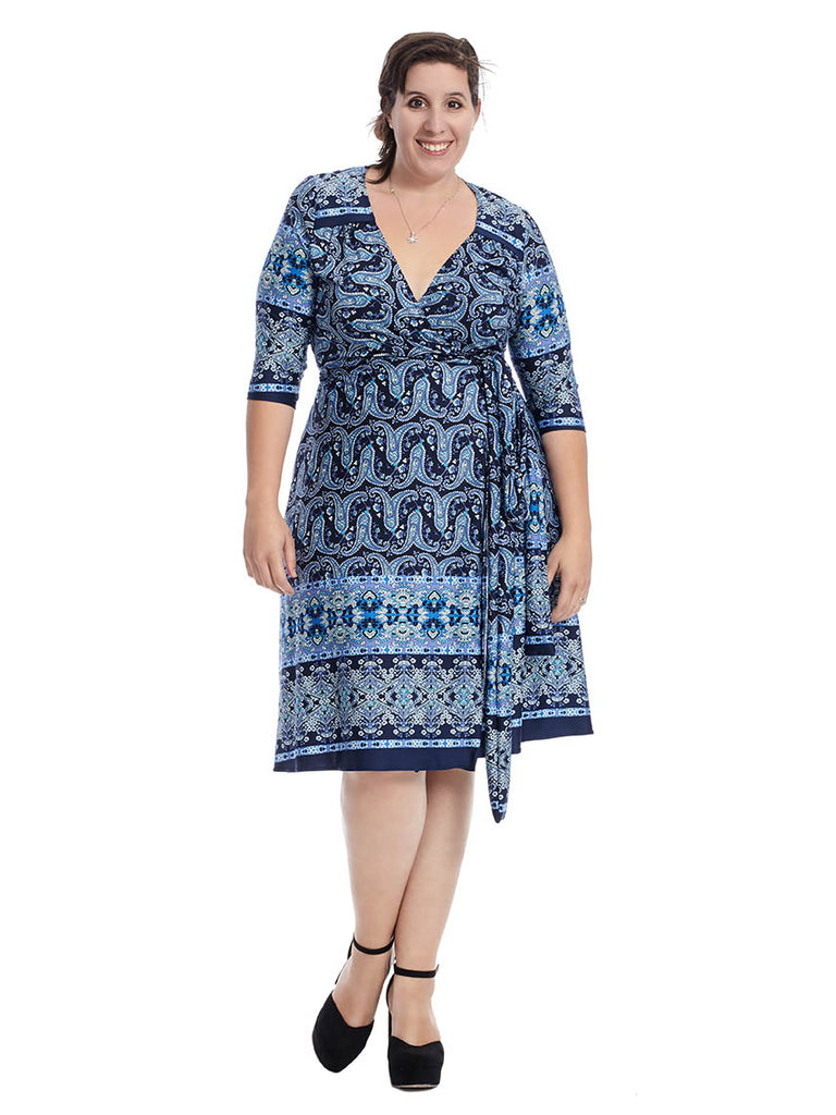 Beguiling Border Wrap Dress