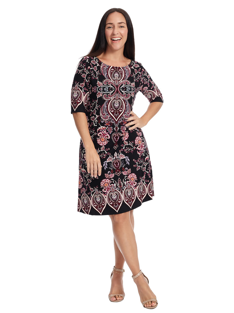 Black And Purple Paisley Placement Print Dress
