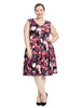 Sleeveless Scuba Floral Fit And Flare Dress