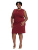 Twist Key Hole Detail Dress In Autumn Wine
